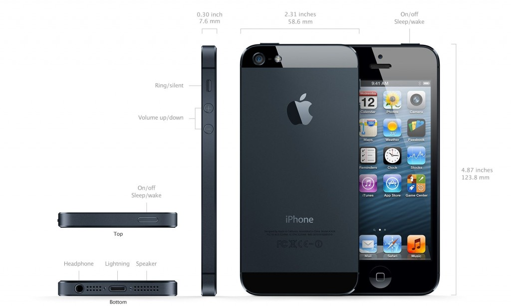 Размеры пятого айфона и элементы управления