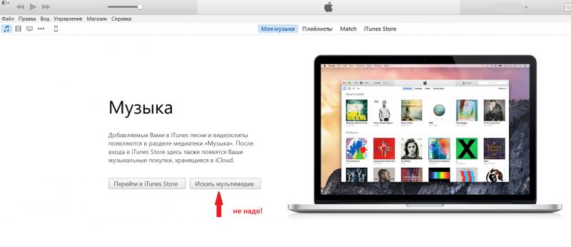 Первый запуск iTunes