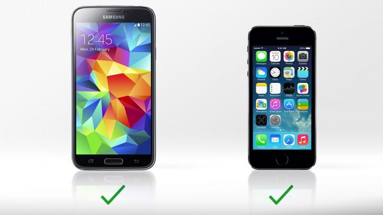 Samsung GALAXY S5 и Apple iPhone 5s