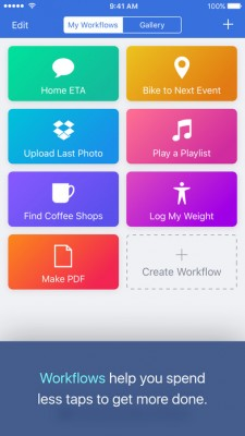 Интерфейс программы Workflow