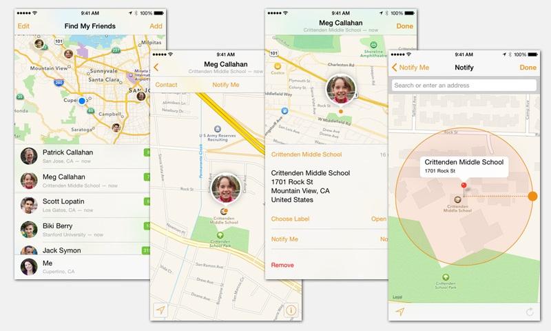 Скриншоты приложения Find my Friends